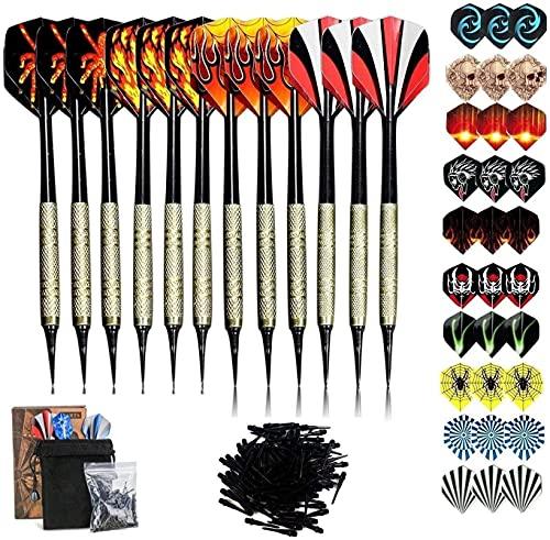 Sinwind Freccette Professionali Punta Plastica, Set di 12 Freccette Morbide per Bersaglio Elettronico con 42 Freccette Voli e 100 Punte Morbide di Freccette
