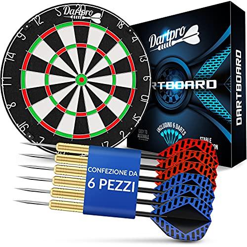 DartPro Bersaglio freccette - Bersaglio in sisal autorigenerante - Bersaglio con fili extra sottili - Bersaglio con 6 freccette professionali - Darts
