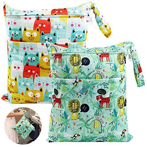Ballery Wetbag Pannolini Lavabili, Riutilizzabile Wet Bag Borsa per Pannolini Impermeabile Bambino Neonato Sacchetto del Pannolino Lavabile con Zip Cerniera Scomparti Dry Bag (L & L, Verde)