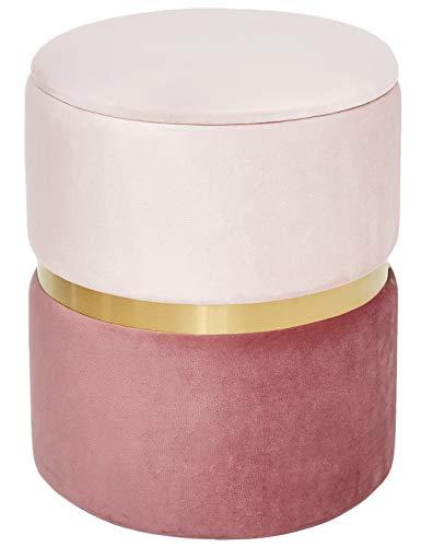Suhu Pouf Puff Sgabello di Stoccaggio Poggiapiedi Contenitore in Velluto Rotondo Dorata Moderno Design Rosa