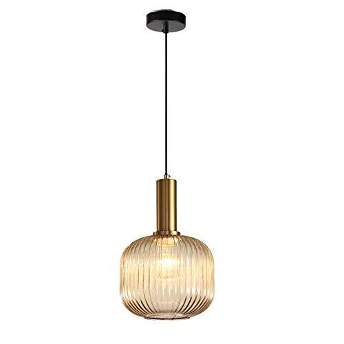 MZStech Lampada a sospensione moderna, lampada a sospensione in vetro ambrato con portalampada in rame dorato