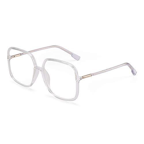 GLINDAR Occhiali Oversize Anti Blocco Luce Blu per Donna Occhiali Computer Quadrati Ridurre l'Affaticamento degli Occhi Chiaro