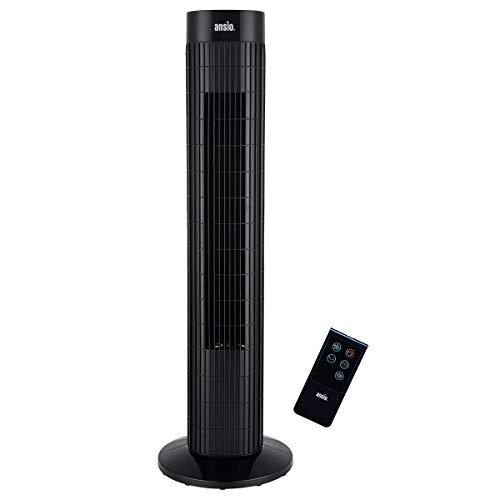 ANSIO Ventilatore a torre oscillante con telecomando e 3 impostazioni di velocità e di vento, con cavo lungo 1,75 m.30 pollici - Nero (batterie non incluse)
