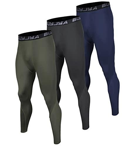BUYJYA Pantaloni a compressione da uomo da corsa, leggings da allenamento, da atletica, a secco, per yoga, palestra, confezione da 3, Blu-esercito Verde-nero, M