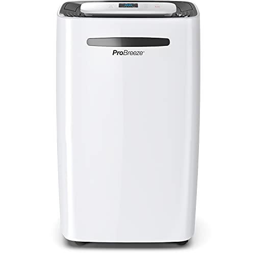 Pro Breeze Deumidificatore 20L, Display Digitale, Scarico Continuo, Portatile, con 4 Modalità d'Uso, Timer e Asciugatura del Bucato