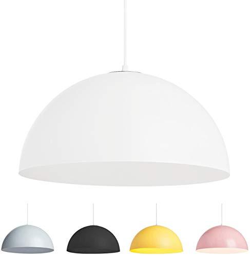 Lampada a Sospensione Cupola Mezza Sfera da Soffitto Moderna Attacco E27 Paralume in Metallo Verniciato Bianco Nero Rosa Grigio Giallo (Bianco, 40cm)
