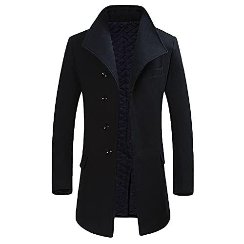 Allthemen Trench da uomo Colletto alla coreana Cappotto di lana casual Cappotto lungo invernale Cappotto monopetto