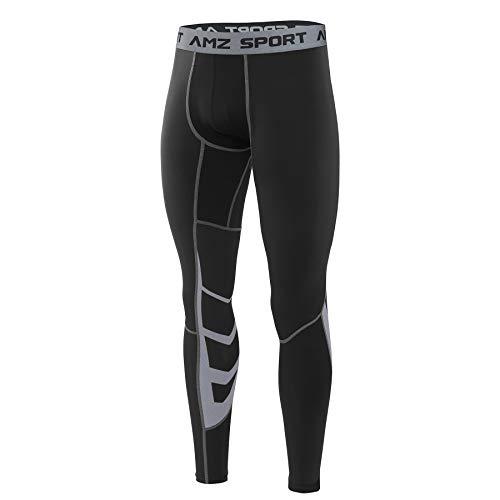 AMZSPORT Uomo da Compressione Calzamaglia Baselayer Leggings Sportivi Termici Pantaloni per Tutta la Stagione L
