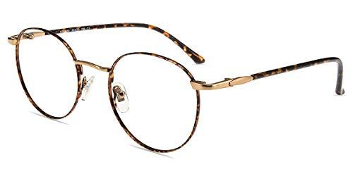 Firmoo Occhiali Filtro Luce Blu per Computer Antiriflesso e Anti Affaticamento degli Occhi, Occhiali da Vista con Montatura Rotonda in Metallo Retrò Unisex, Tartaruga Oro