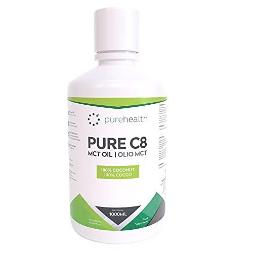 Olio 100% di cocco C8 MCT | 99% Purezza | Acido Caprilico Puro C8 | Paleo | Keto | Vegan | Senza Glutine | Bottiglia senza BPA (1000ml Cocco C8)