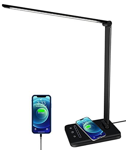 Lampada da scrivania LED, lampada da tavolo con ricarica wireless e porta di ricarica USB, 5 modalità di illuminazione 6 livelli di luminosità, protegge l'occhio, pieghevole, controllo touch, timer