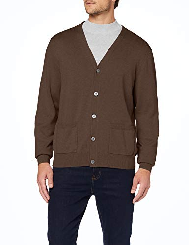 Amazon Essentials Cotton Cardigan-Sweaters, Brown Heather, US L (EU L)