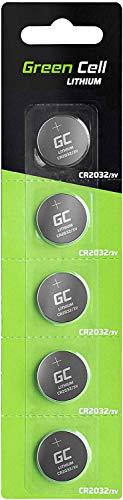 Green Cell 2032 Batteria Bottone al Litio 3 V, Specialistica Elettronica Confezione da 5 (CR 2032 / CR2032 / DL2032 / ECR2032/), per l'Uso su Chiavi con Sensore Magnetico Bilance Elementi Indossabili