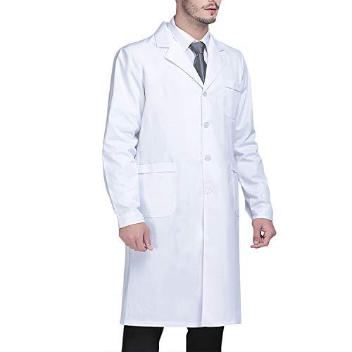 Beautyshow Bianco da Laboratorio, Camice da Laboratorio Medico Lavoro Gli Infermieri Camice da Laboratorio a Maniche Lunghe Abbigliamento Medico per Uomini White Lab Coat
