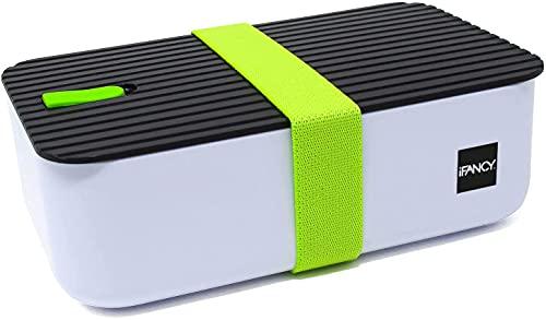 OISHI Lunch Box Tasty – Bento Lunch Box 1000 ml – Impermeabile & antigoccia per bambini e adulti – Senza BPA – Contenitore per il pane per lavastoviglie, microonde e congelatore (verde)