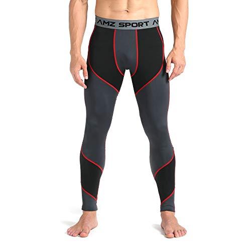 AMZSPORT Pantaloni Compressione da Uomo Calzamaglia Corsa Leggins Palestra Sportivi Rosso XL