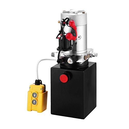 HODOY Pompa Idraulica Hydraulic Pump 12V DC Singola Agendo con Serbatoio d'Acciaio per Elevatore (4L)