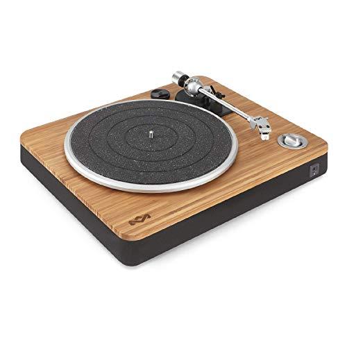 House of Marley Stir It Up Turntable, Giradischi per Vinili con Cavo, 45/33 Giri, Piatto in Lega di Alluminio, Braccio in Metallo Rigido, Cartuccia MM Audio-Technica Sostituibile, Bambù/Nero