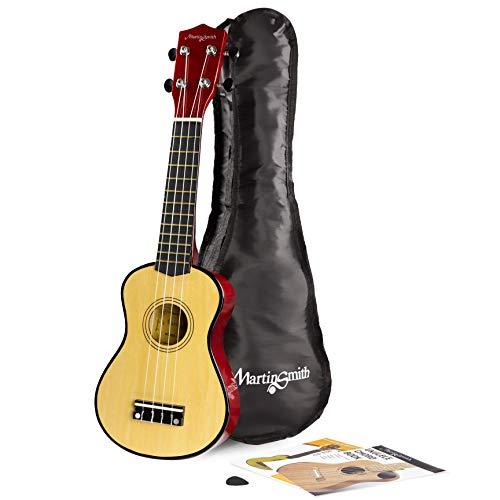 Martin Smith UK-212-A Soprano Ukulele, Con borsa per ukulele e libro degli accordi, Colore Naturale