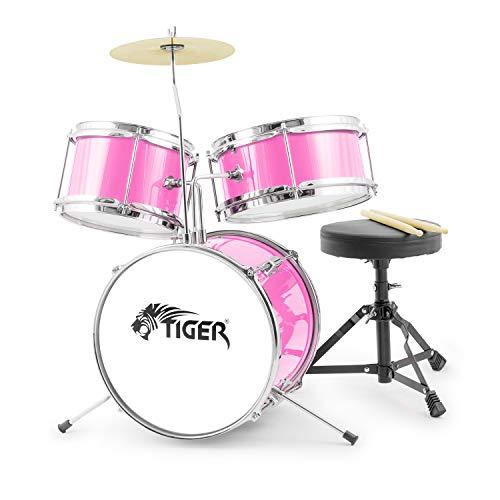 TIGER JDS7-PK Junior Kids, Batteria 3 Pezzi per Principianti con Sgabello - Rosa
