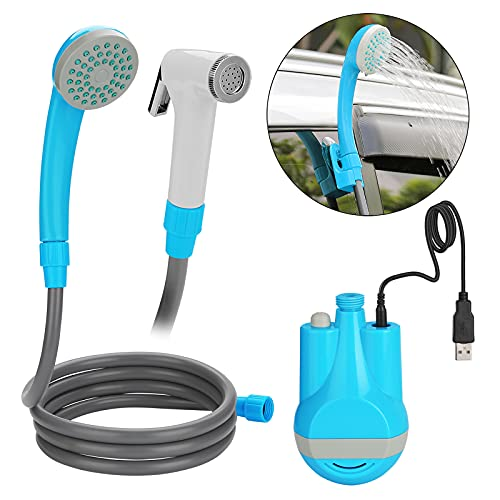 WADEO Doccia Portatile Elettrica da 12V a USB Ricaricabile con Batteria Incorporata 2200mAh con Tubo Flessibile da 1.8m per Animali Domestici Lavaggio Auto Colore Blu