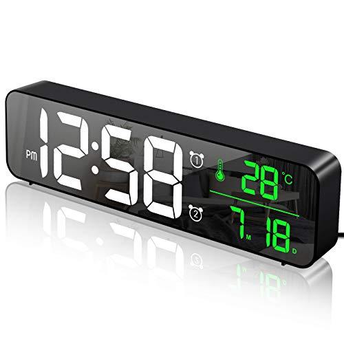 MOSUO Sveglia Digitale da Comodino, Orologio da Parete con LED Temperatura Data, 10'' Specchio Grande Schermo USB Clock, 2 Allarme 40 Musica 6 Luminosità di Regolabile 4 Volumi, Nero