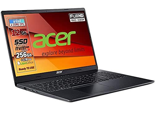 Notebook SSD, portatile pc, Acer Intel N4120, 4 core, Ram 12Gb, SSD 256Gb nvme + 1000Gb, 15.6