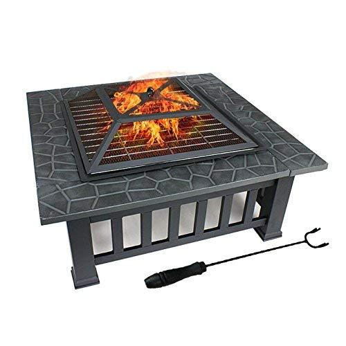 DAWOO Braciere con ripiano per barbecue, braciere in metallo per esterni, tavolo quadrato e braciere da giardino, terrazza, barbecue, con copertura impermeabile