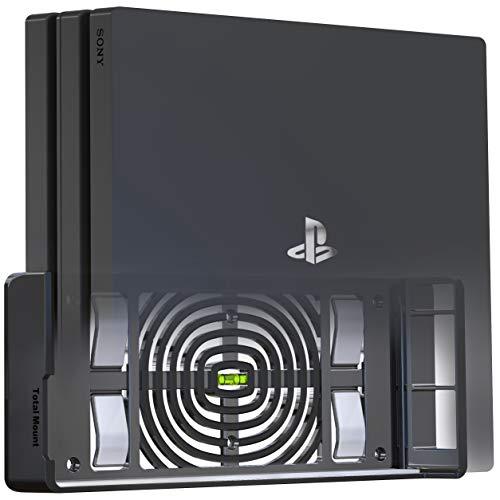 Innovelis TotalMount Supporto da parete per Sony PlayStation 4 Pro con livella a bolla d'aria e staffa per console di gestione del calore per il montaggio a parete, Nero