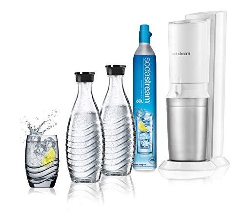 Sodastream Gasatore D'Acqua Frizzante Crystal Mega Pack, 2 Bottiglie di Vetro e 1 Cilindro CO2 inclusi, Bianco