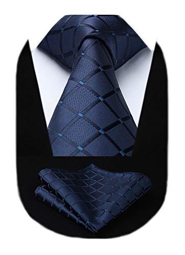 HISDERN Cravatta a quadri scozzese extra lunga da uomo Fazzoletto da festa di nozze Cravatta classica e fazzoletto da taschino Set per affari formali