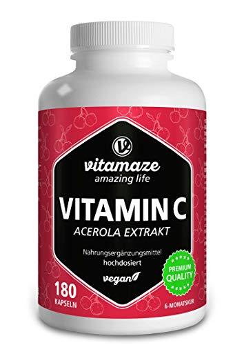 Vitamina C Acerola, 160 mg Vitamina C Naturale da 660 mg di Estratto di Acerola, Vegan & Biodisponibile in Modo Ottimale, 180 Capsule per 6 Mesi, Integratore Alimentare senza Additivi Inutile