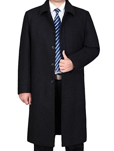 Vogstyle Uomo Nuovo Cappotto Trench Monopetto Slim Fit Windbreaker Giacca Lunga Outwear Stile 2-Nero L