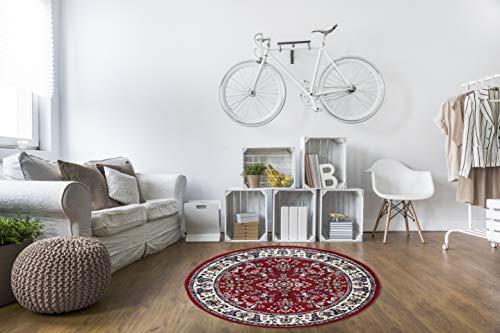andiamo Tappeto orientale classico persiana – Motivo decorativo tappeto a pelo corto – 120 cm rotondo rosso