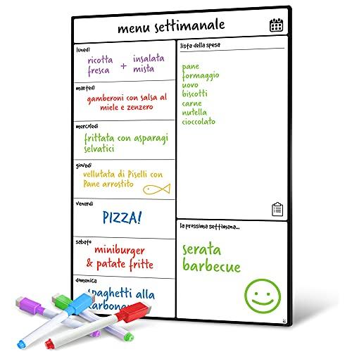 Smart Panda Lavagna Calendario Magnetico Frigorifero - Perfetta per Pianificare I Pasti, Segnarsi La Lista della Spesa e Aiutarsi nello Studio - Lavagnetta Magnetica - Settimanale - in Italiano