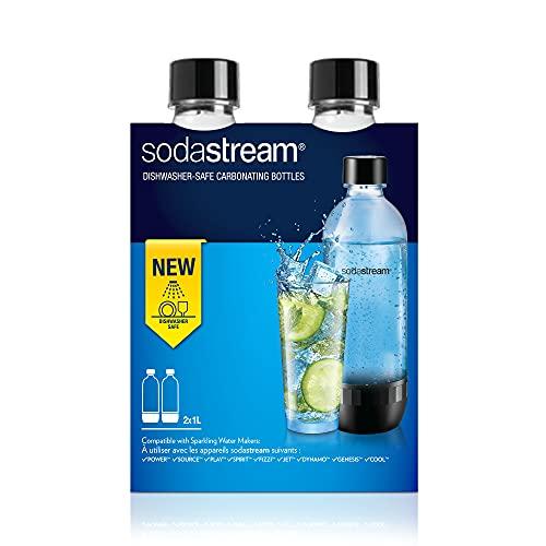 SodaStream Bottiglia per gasatore d'acqua, Trasparenti, Compatibili con modelli gasatori SodaStream Power, Source, Play, Spirit, Fizzy, Jet, Dynamo, Genesis, Cool, Pacco da 2 (2 x 1L)