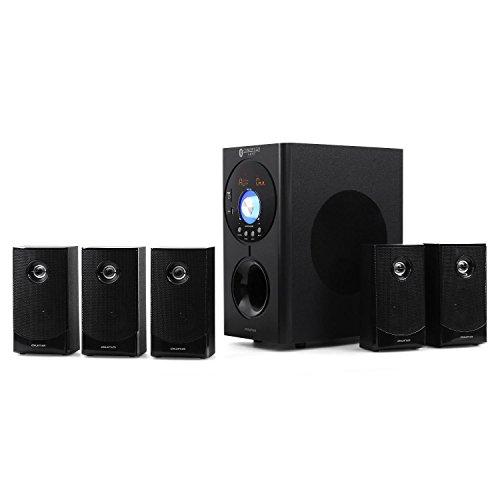 AUNA Concept 620 - Home Theater, Sistema Audio 5.1, Potenza Max 250W, Ingresso AUX, Interfaccia Bleutooth, Ingressi USB e SD, Telecomando, Nero