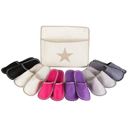 LEVIVO Set di Pantofole per Ospiti, con 6 Paia Unisex in Feltro di Alta Qualità in 3 Misure Diverse e Sacca Chic per Conservarle