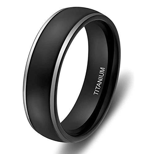Ed Shine - Anello di fidanzamento da uomo e da donna, 4 mm, 6 mm, in titanio, nero opaco, con bordo lucido e Titanio, 52 (16.6), colore: 6 mm nero, cod. FBAESTJZ06656B060