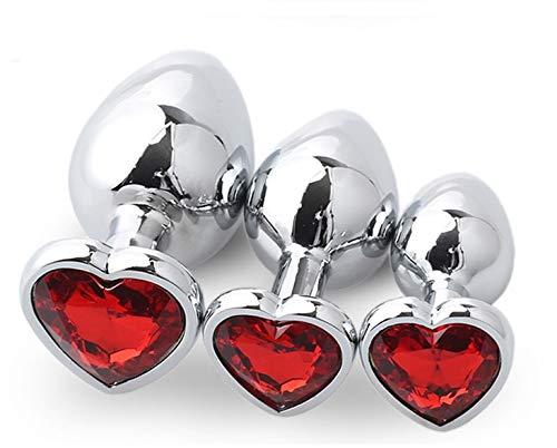 BONDAGERIE® Plug in Metallo con Diamante a forma di Cuore, colore Rosso, varie misure