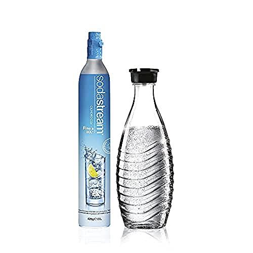 SodaStream Cilindro Ricarica Gas CO2 in Licenza d'Uso per Gasatore + Bottiglia in VETRO da 0,75 Litri per Gasatore Crystal