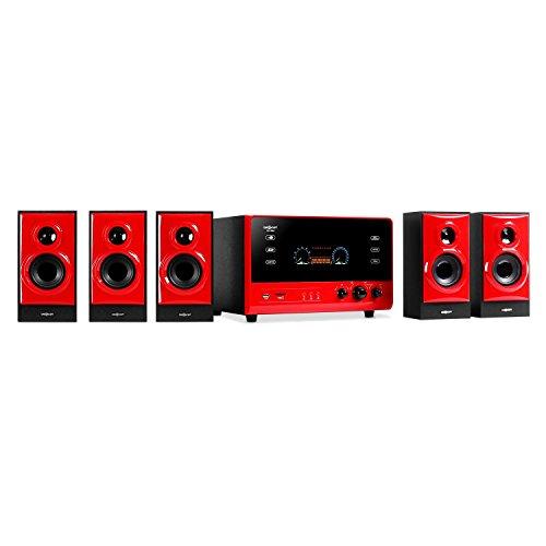 """oneConcept V51 - Surround Sound System 5.1, Home Theatre, RMS 70 Watt, activ subwoofer, woofer 4"""" (10 cm), Bass Reflex, 5 Casse satelliti, USB, SD, AUX, Radio VHF, Display VFD, Nero"""