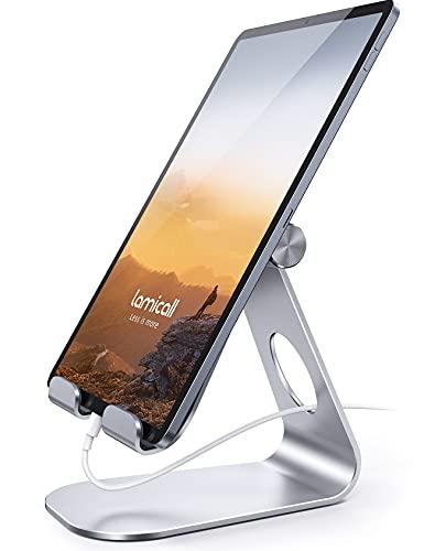 Lamicall Supporto Tablet, Supporto Regolabile - Universale Stand Dock per 2020 iPad PRO 10.5, PRO 9.7, PRO 12.9, iPad Mini 2 3 4, iPad Air, Air 2, iPhone, Samsung Tab, Altri Tablets - Argento