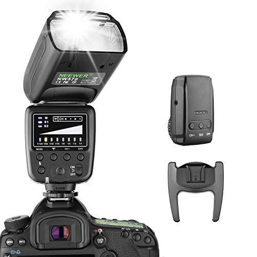 Neewer® Flash Speedlite con 2.4G Sistema Wireless&15 Canali Trasmettitore per DSLR Canon Nikon Sony Panasonic Olympus Fujifilm Pentax e Altre Fotocamere DSLR con Standard Slitta Hotshoe (NW570)