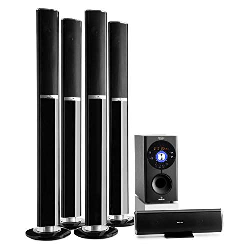 AUNA Areal 652 Edition - Home Teather 5.1, Dolby Surround 5.1 Wireless, Sistema di Altoparlanti, Subwoofer Bassreflex Sidefiring, Bluetooth, USB, AUX, SD, Jack Microfono, Nero