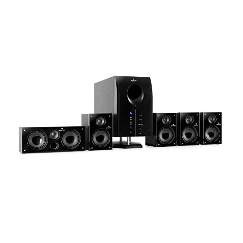 AUNA Areal 525 BK - Style Edition, Home Cinema 5.1, Surround Sound Equipment, Home Theater, 5 Diffusori Surround, Subwoofer BassReflex, AUX, 125W RMS, 20-20.000 Hz, Telecomando, Nero