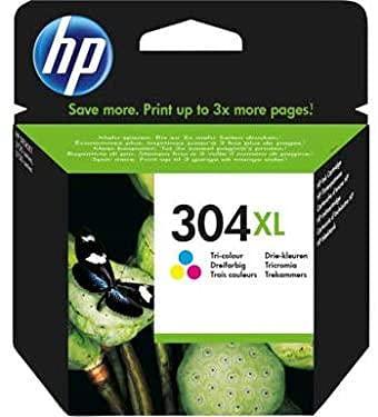 HP 304 XL N9K07AE Cartuccia Originale per Stampanti a Getto di Inchiostro, Compatibile con DeskJet 2620 e 2630, Deskjet 3720, 3730, 3750 e 3760, HP ENVY 5010, 5020 e 5030, Tricromia