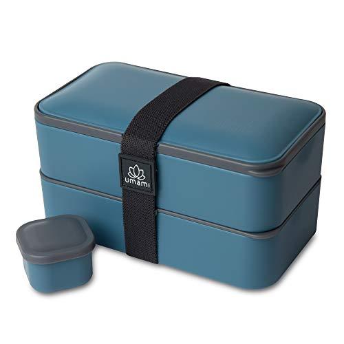 UMAMI Premium Bento Lunch Box per Adulti/Bambini con Vaschetta Condimento & 3 Posate, Porta Pranzo Ermetico a 2 Scomparti - Pasti A Ufficio /A Lavoro - Zero Waste - Microonde e Lavastoviglie - No BPA