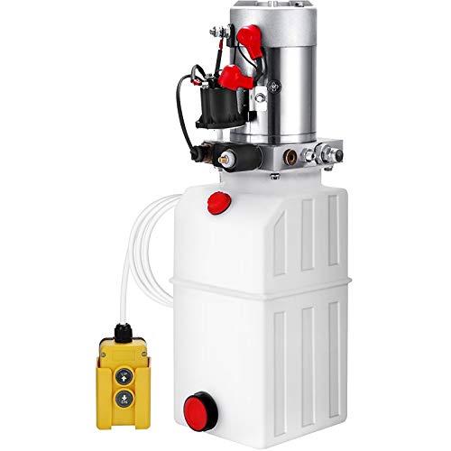 VEVOR Pompa Idraulica Hydraulic Pump 12V DC Singola Agendo Con Plastic Tank Per Elevatore (6L)