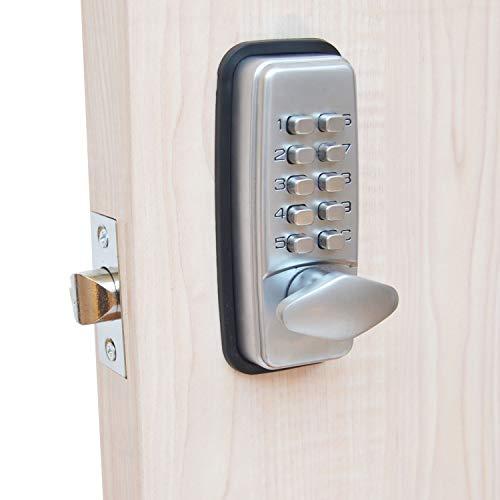 Serratura per porta con codice digitale, cromata, resistente alle intemperie, con combinazione di tasti codificati, colore nero o argento (argento)